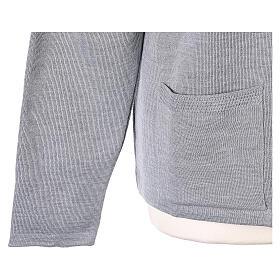 Nun grey V-neck cardigan with pockets PLUS SIZES 50% merino wool 50% acrylic In Primis s5