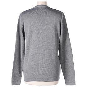 Nun grey V-neck cardigan with pockets PLUS SIZES 50% merino wool 50% acrylic In Primis s6