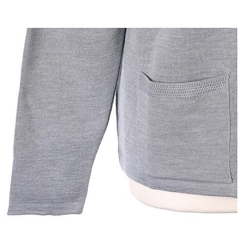 Nun grey V-neck cardigan with pockets PLUS SIZES 50% merino wool 50% acrylic In Primis 5