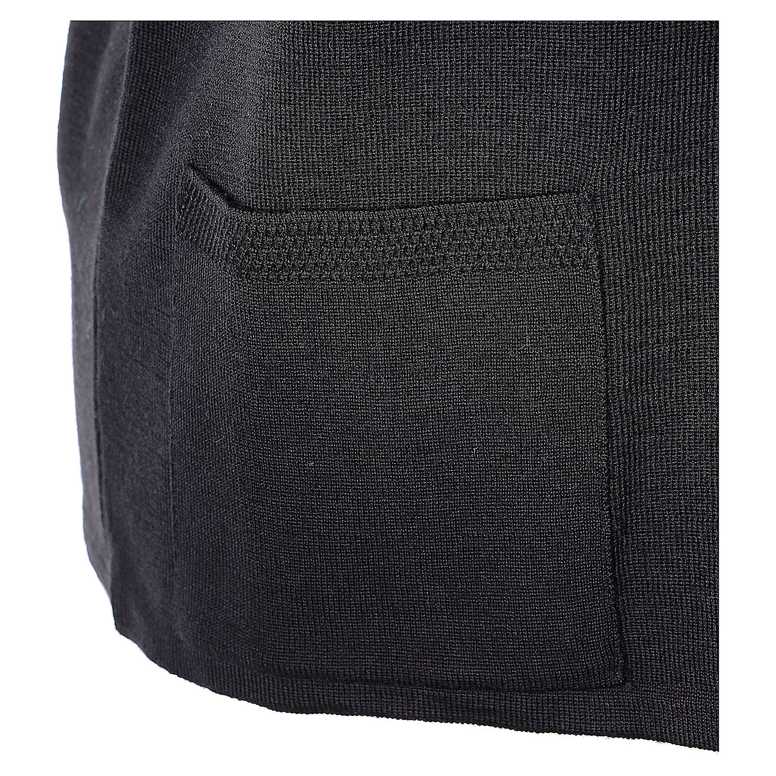 Nun black sleeveless cardigan with V-neck and pockets PLUS SIZES 50% merino wool 50% acrylic In Primis 4
