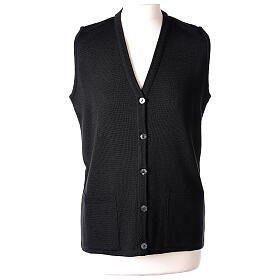 Nun black sleeveless cardigan with V-neck and pockets PLUS SIZES 50% merino wool 50% acrylic In Primis s1