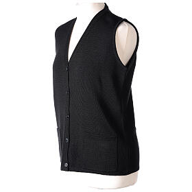 Nun black sleeveless cardigan with V-neck and pockets PLUS SIZES 50% merino wool 50% acrylic In Primis s3