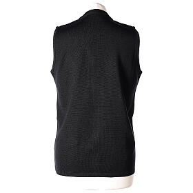 Nun black sleeveless cardigan with V-neck and pockets PLUS SIZES 50% merino wool 50% acrylic In Primis s6