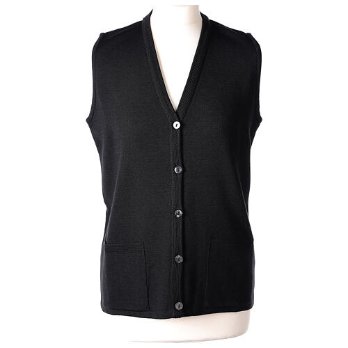Nun black sleeveless cardigan with V-neck and pockets PLUS SIZES 50% merino wool 50% acrylic In Primis 1