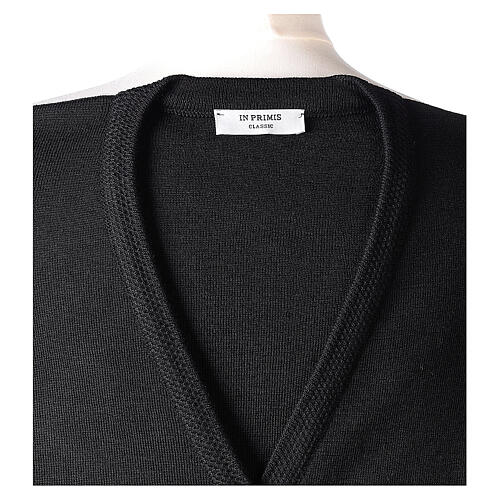 Nun black sleeveless cardigan with V-neck and pockets PLUS SIZES 50% merino wool 50% acrylic In Primis 7