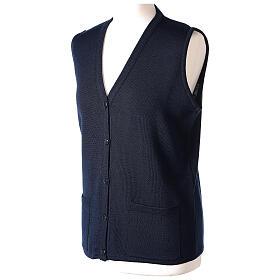 Gilet bleu soeur avec poches col en V GRANDE TAILLE 50% acrylique 50% mérinos In Primis s3