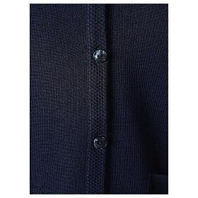 Gilet bleu soeur avec poches col en V GRANDE TAILLE 50% acrylique 50% mérinos In Primis s4
