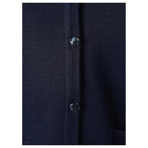 Gilet bleu soeur avec poches col en V GRANDE TAILLE 50% acrylique 50% mérinos In Primis 4