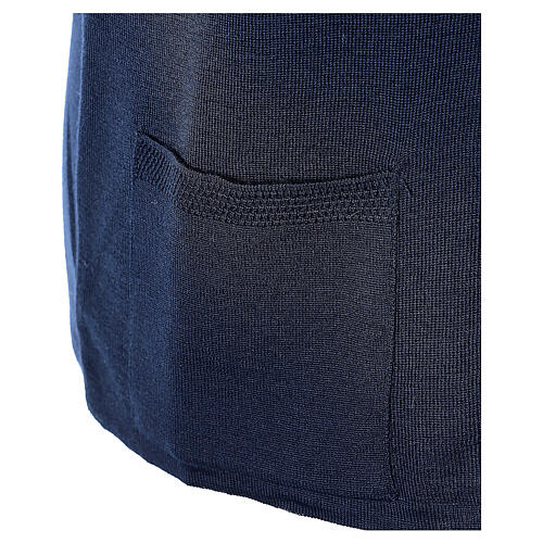 Gilet bleu soeur avec poches col en V GRANDE TAILLE 50% acrylique 50% mérinos In Primis 5