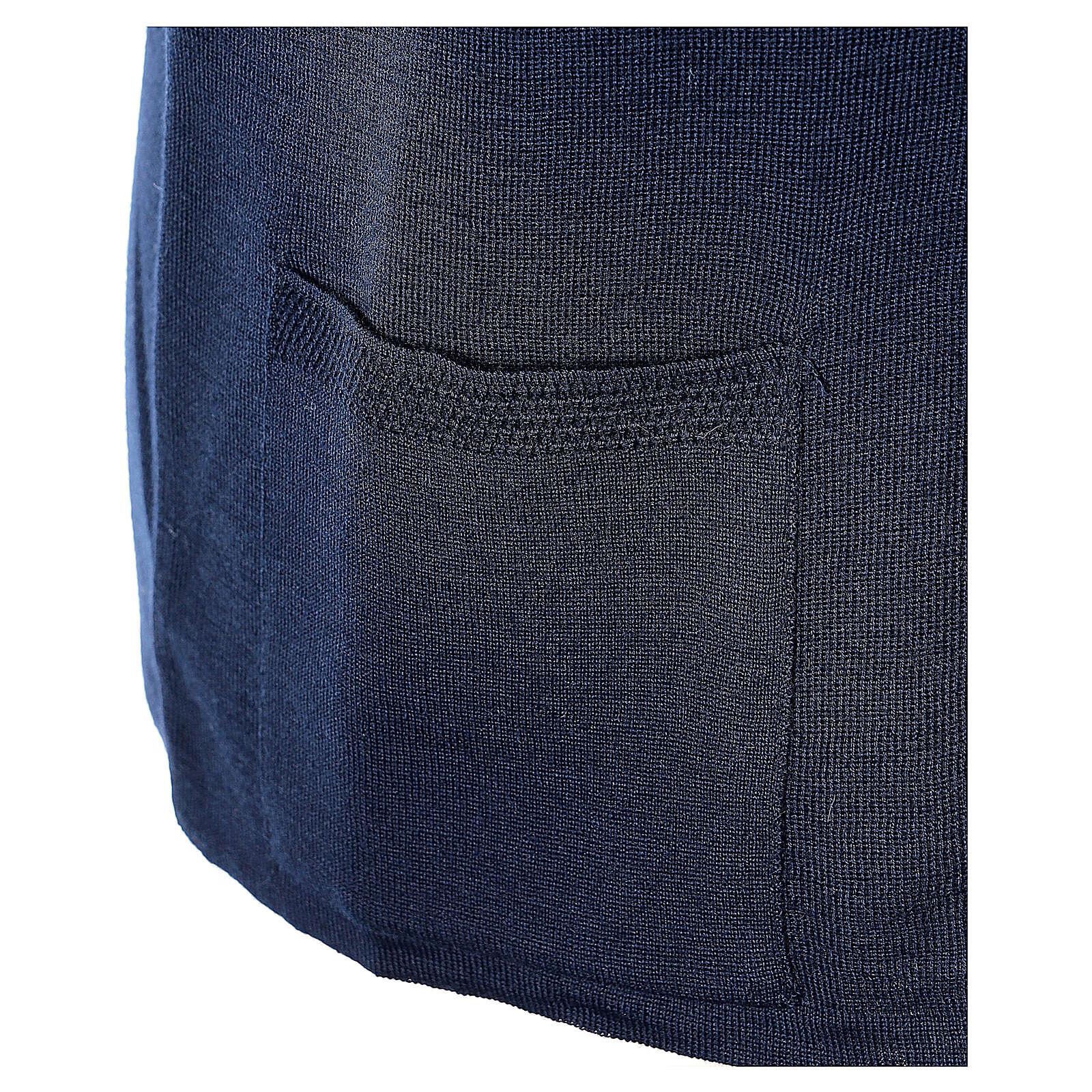 Gilet blu suora con tasche collo a V TAGLIE CONF. 50% acr. 50% merino In Primis 4