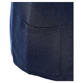 Gilet blu suora con tasche collo a V TAGLIE CONF. 50% acr. 50% merino In Primis s5