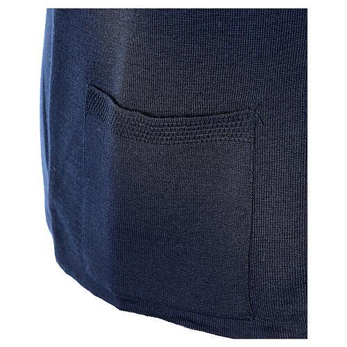 Gilet blu suora con tasche collo a V TAGLIE CONF. 50% acr. 50% merino In Primis 5