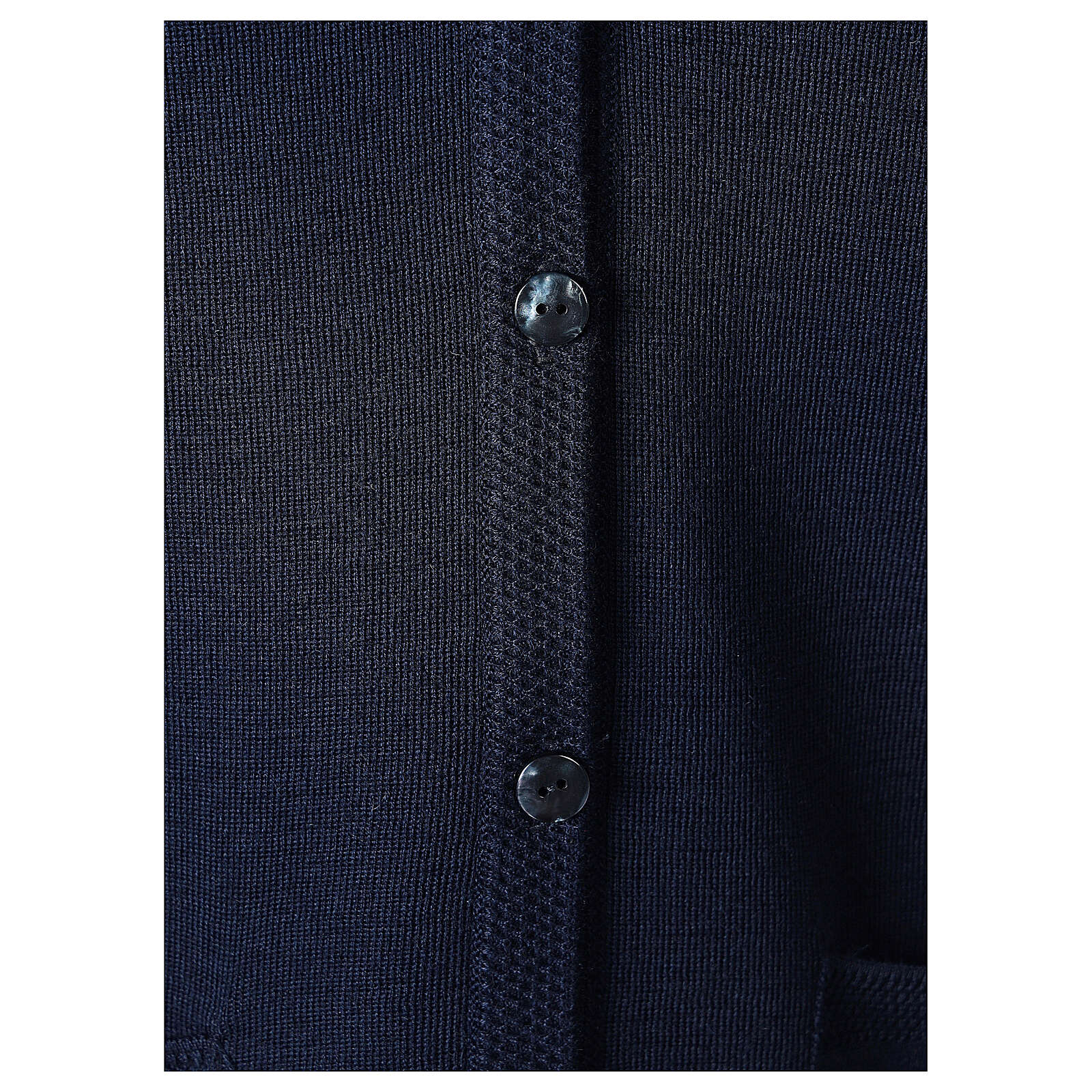 Nun blue sleeveless cardigan with V-neck and pockets PLUS SIZES 50% merino wool 50% acrylic In Primis 4