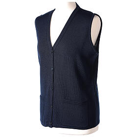 Nun blue sleeveless cardigan with V-neck and pockets PLUS SIZES 50% merino wool 50% acrylic In Primis s3