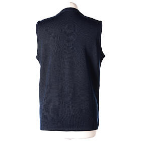 Nun blue sleeveless cardigan with V-neck and pockets PLUS SIZES 50% merino wool 50% acrylic In Primis s6