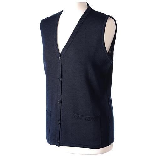 Nun blue sleeveless cardigan with V-neck and pockets PLUS SIZES 50% merino wool 50% acrylic In Primis 3