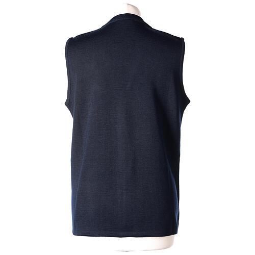 Nun blue sleeveless cardigan with V-neck and pockets PLUS SIZES 50% merino wool 50% acrylic In Primis 6