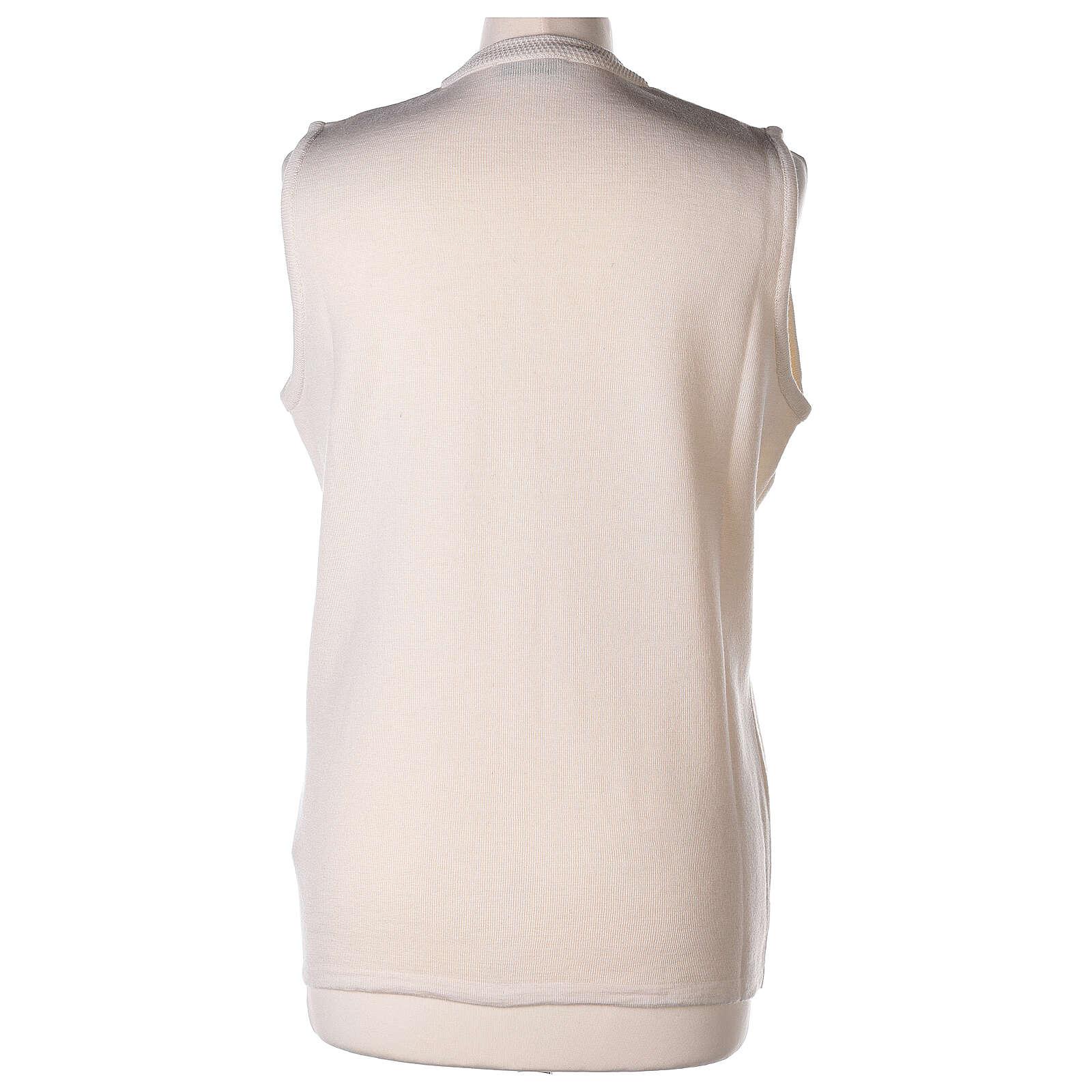 Gilet blanc soeur avec poches col en V GRANDE TAILLE 50% acrylique 50% mérinos In Primis 4