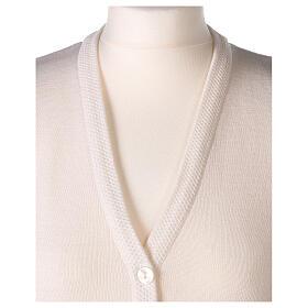 Gilet blanc soeur avec poches col en V GRANDE TAILLE 50% acrylique 50% mérinos In Primis s2