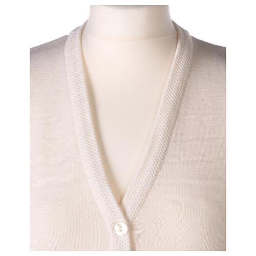 Gilet blanc soeur avec poches col en V GRANDE TAILLE 50% acrylique 50% mérinos In Primis 2
