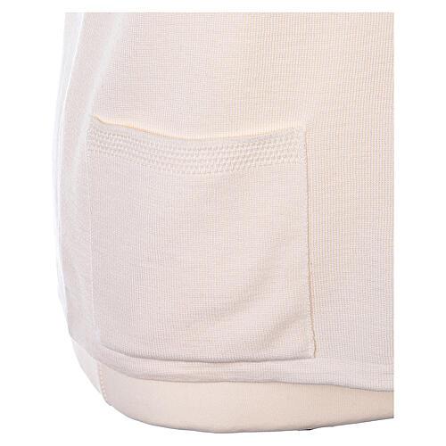 Gilet blanc soeur avec poches col en V GRANDE TAILLE 50% acrylique 50% mérinos In Primis 5