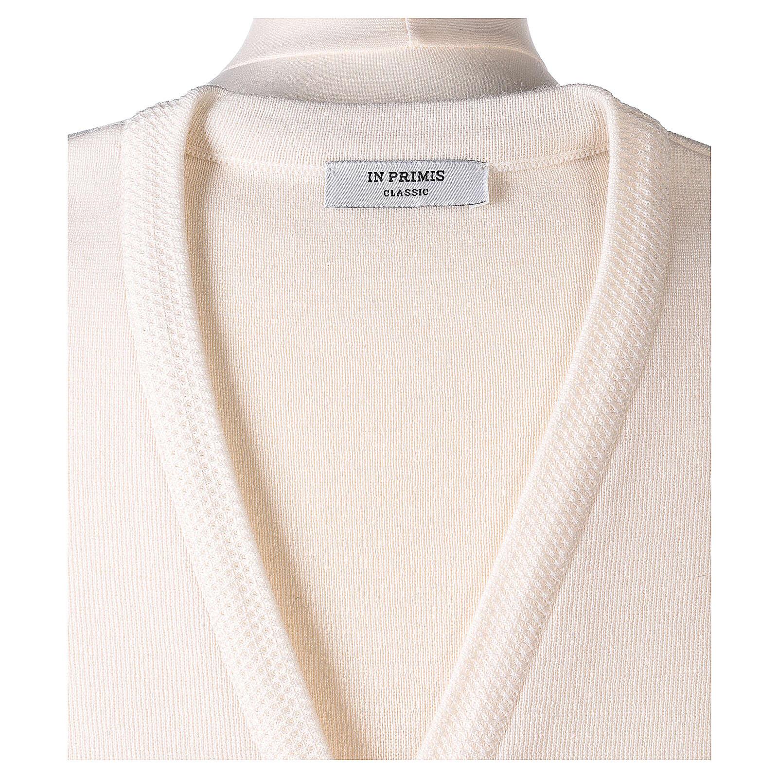 Gilet bianco suora con tasche collo a V TAGLIE CONF. 50% acr. 50% merino In Primis 4