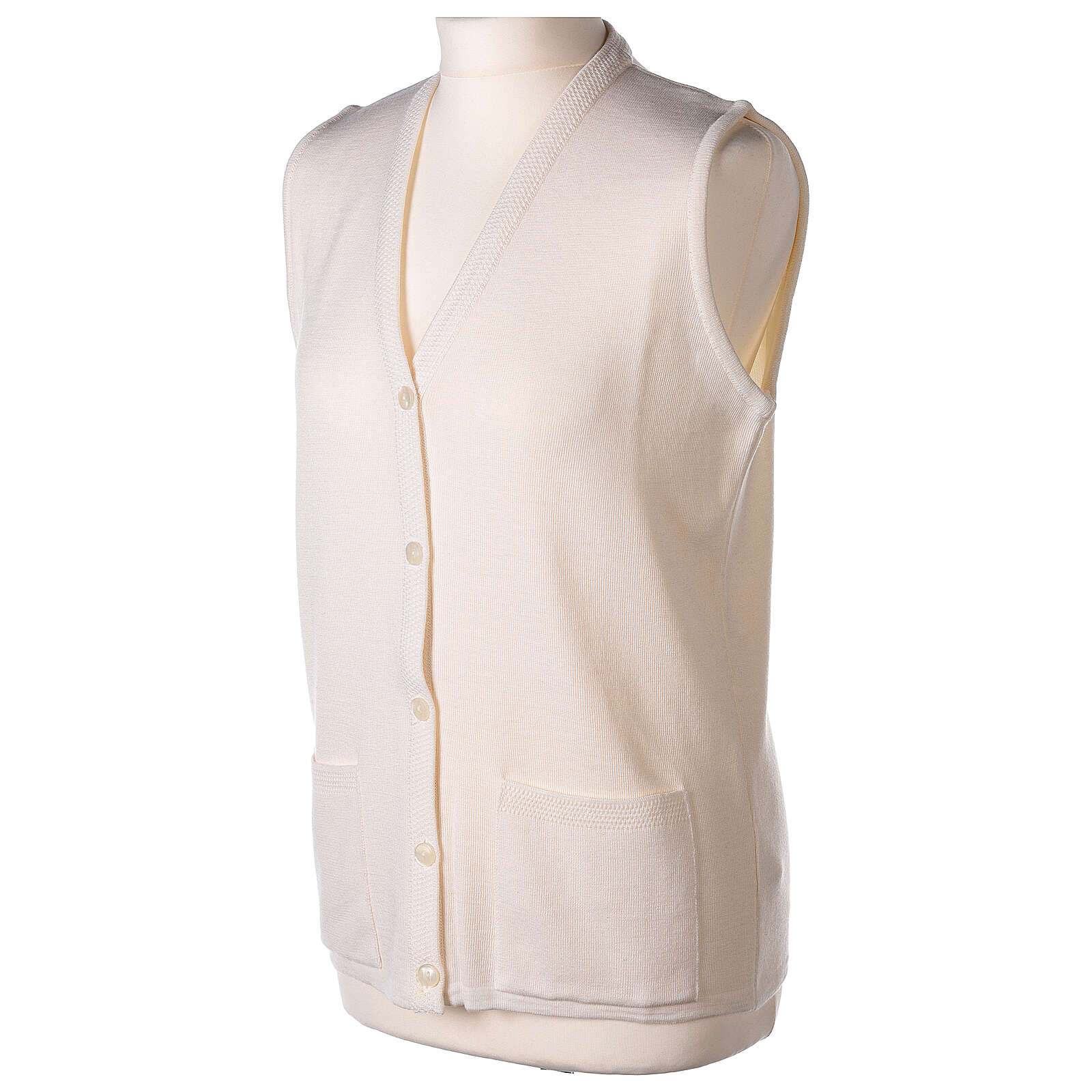 Nun white sleeveless cardigan with V-neck and pockets PLUS SIZES 50% merino wool 50% acrylic In Primis 4