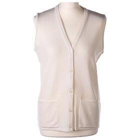 Nun white sleeveless cardigan with V-neck and pockets PLUS SIZES 50% merino wool 50% acrylic In Primis s1