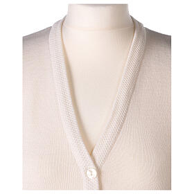 Nun white sleeveless cardigan with V-neck and pockets PLUS SIZES 50% merino wool 50% acrylic In Primis s2