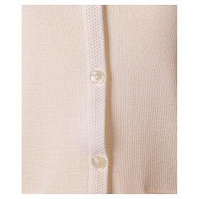 Nun white sleeveless cardigan with V-neck and pockets PLUS SIZES 50% merino wool 50% acrylic In Primis s4