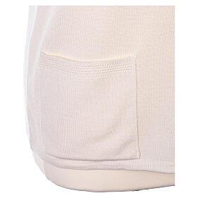 Nun white sleeveless cardigan with V-neck and pockets PLUS SIZES 50% merino wool 50% acrylic In Primis s5