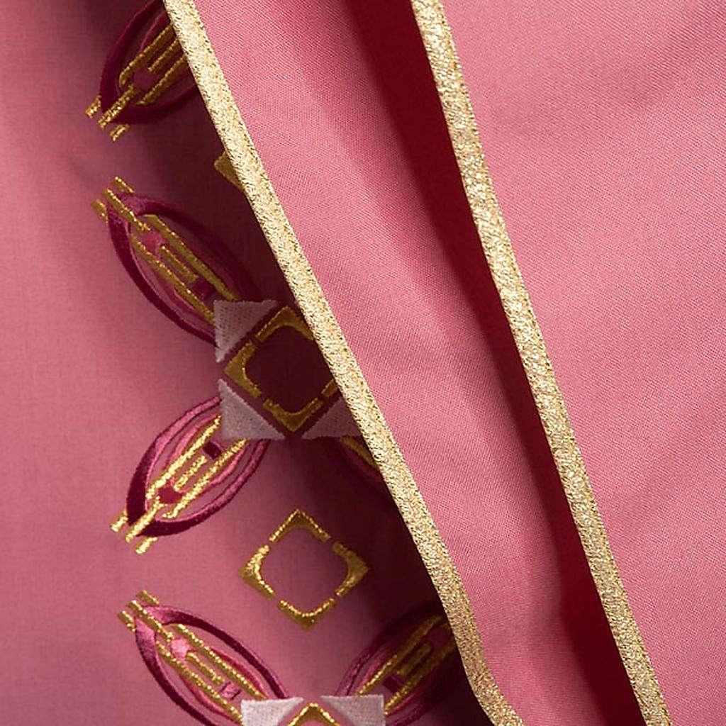 Casulla con estola rojo y rosa 4