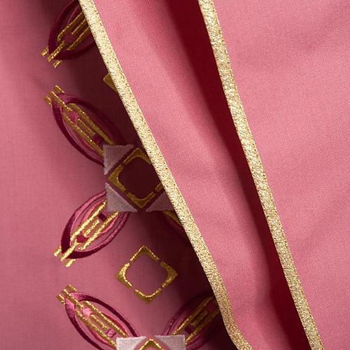 Casulla con estola rojo y rosa 6