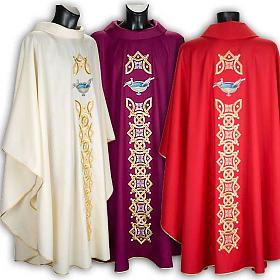 Casula liturgica con stola colombe acquasantiera s1