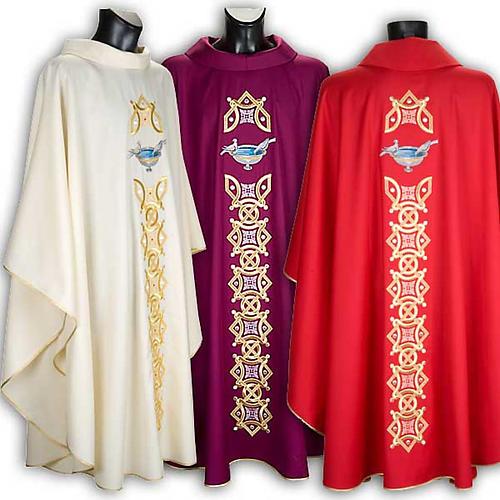 Casula liturgica con stola colombe acquasantiera 1