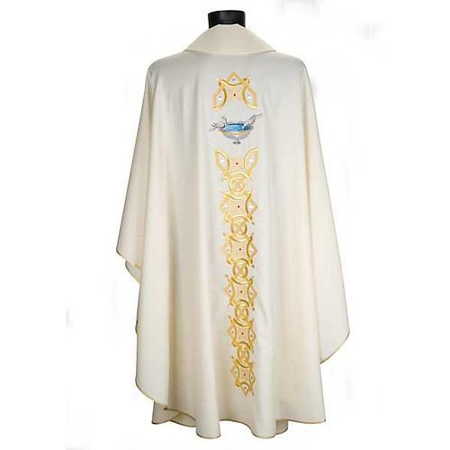 Casula liturgica con stola colombe acquasantiera 2