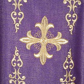 Casulla y estola en lana y tela brillante s1