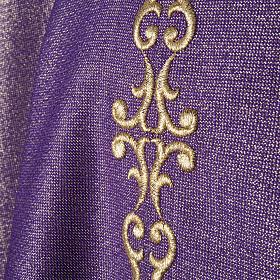 Casulla y estola en lana y tela brillante s2