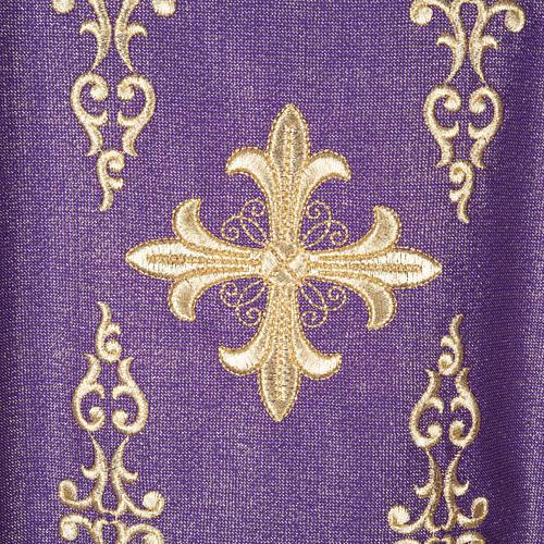Casulla y estola en lana y tela brillante 1