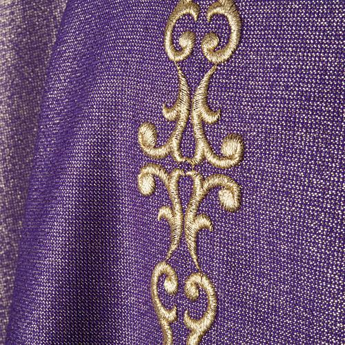 Casulla y estola en lana y tela brillante 2