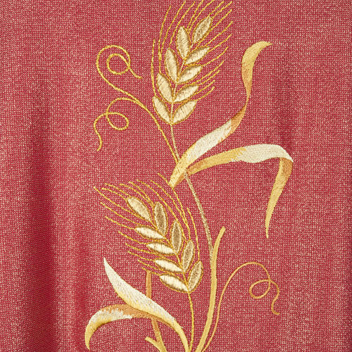 Casulla y estola en lana y tela brillante 5