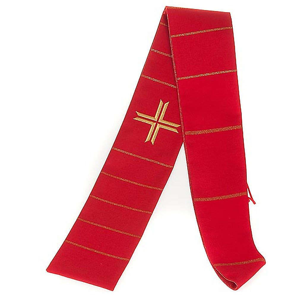 STOCK: Stola liturgica rossa filo dorato lana e seta 4