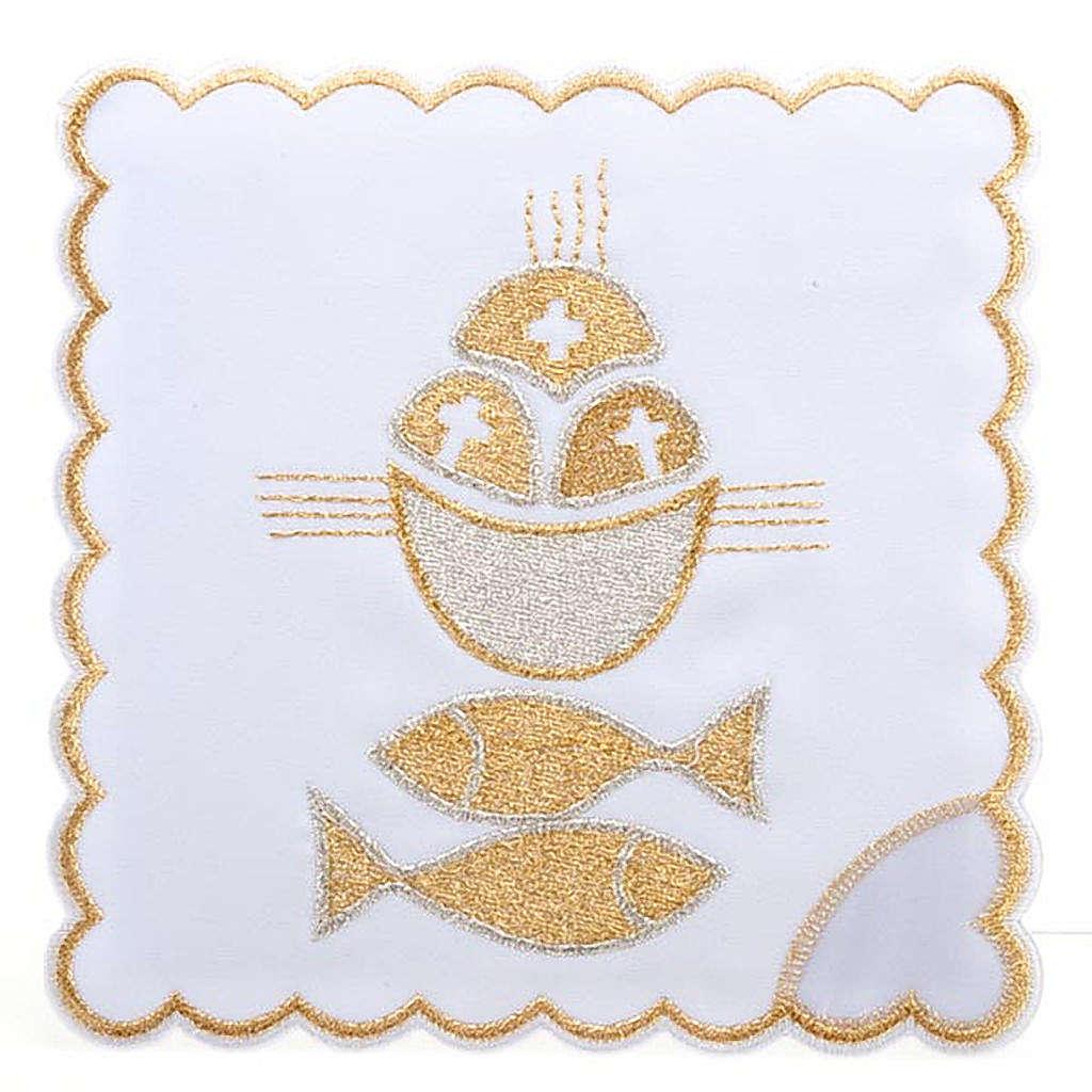 Linge d'autel 4 pcs symbole pains et poissons 4