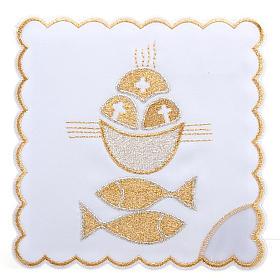 Linge d'autel 4 pcs symbole pains et poissons s1