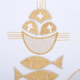 Linge d'autel 4 pcs symbole pains et poissons s3