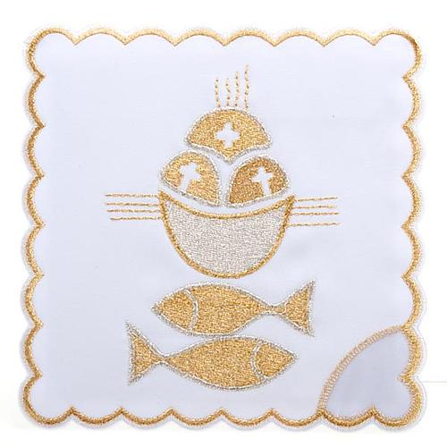 Linge d'autel 4 pcs symbole pains et poissons 1