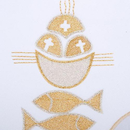 Linge d'autel 4 pcs symbole pains et poissons 3