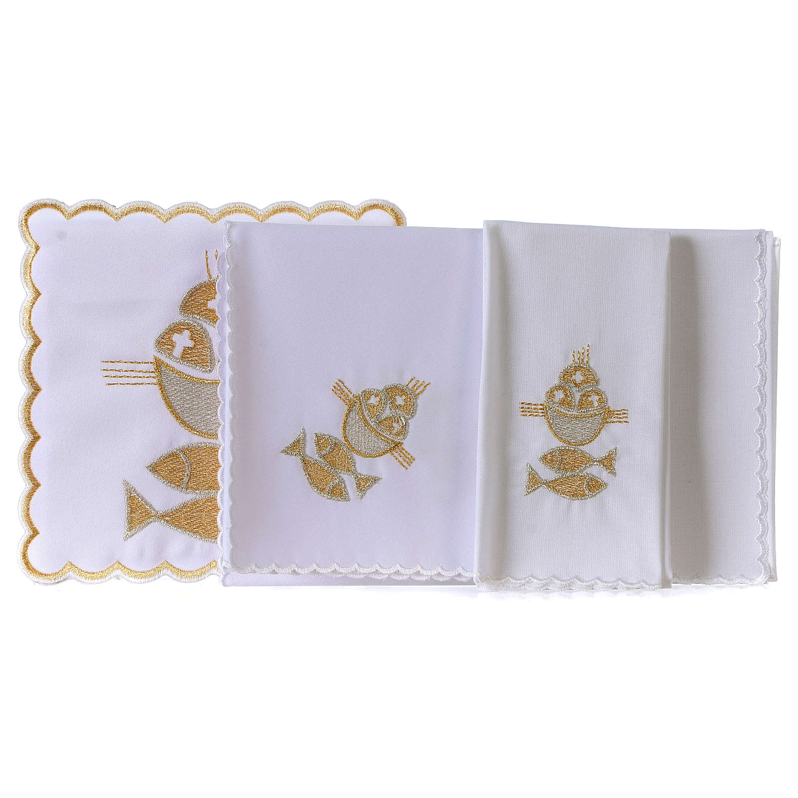 Altar linen set 4 pcs. loaves and fishes symbol 4