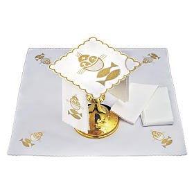 Altar linen set 4 pcs. loaves and fishes symbol s2