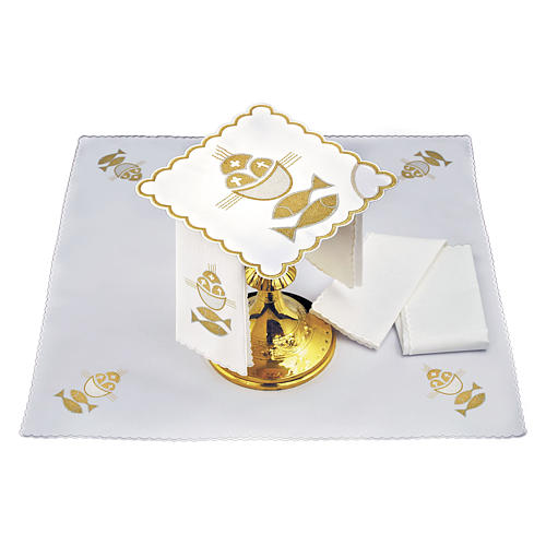 Altar linen set 4 pcs. loaves and fishes symbol 2